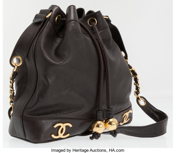 d2c5db96785816 Luxury Accessories:Bags, Chanel Black Lambskin Leather Drawstring Bucket Bag  with Gold CCLogos.