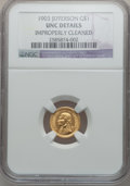 Commemorative Gold: , 1903 G$1 Louisiana Purchase/Jefferson -- Improperly Cleaned -- NGCDetails. Unc. NGC Census: (4/2035). PCGS Population (18/...