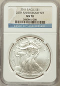 Modern Bullion Coins, 2011 $1 Silver Eagle, 25th Anniversary Set MS70 NGC. NGC Census:(1714). PCGS Population (656). (#509185)...