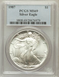 Modern Bullion Coins: , 1987 $1 Silver Eagle MS69 PCGS. PCGS Population (5975/10). NGCCensus: (83623/285). Mintage: 11,442,335. Numismedia Wsl. Pr...