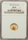 Modern Bullion Coins, 2007 $5 Tenth-Ounce Gold Eagle MS69 NGC. NGC Census: (0/0). PCGSPopulation (251/25). Numismedia Wsl. Price for problem fr...