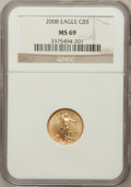 Modern Bullion Coins, 2008 G$5 Gold 1/10 Oz MS69 NGC. NGC Census: (0/0). PCGS Population(226/60). (#393096)...