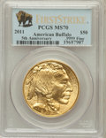 , 2011 $50 One-Ounce Gold Buffalo 5th Anniversary, First Strike MS70PCGS. Ex: .9999 Fine. PCGS Population (2861). NGC Census...