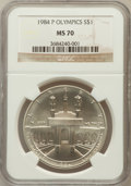 Modern Issues: , 1984-P $1 Olympic Silver Dollar MS70 NGC. NGC Census: (51). PCGSPopulation (34). Mintage: 217,000. Numismedia Wsl. Price f...