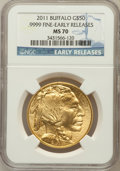 , 2011 $50 One-Ounce Gold Buffalo Early Releases MS70 NGC. Ex: .9999Fine. NGC Census: (0). PCGS Population (141). (#506883...