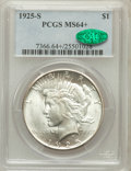 Peace Dollars, 1925-S $1 MS64+ PCGS. CAC....