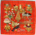 "Luxury Accessories:Accessories, Hermes Red and Gold ""Gastronomie,"" by Christiane Vauzelles SilkScarf. ..."