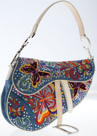 Christian Dior Limited Edition Denim with Crystals and Multicolor Stitching Saddle Bag