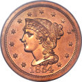 Proof Large Cents, 1854 1C PR64 Red PCGS. N-12, R.6 as a Proof....