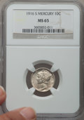Mercury Dimes: , 1916-S 10C MS65 NGC. NGC Census: (93/55). PCGS Population (130/51).Mintage: 10,450,000. Numismedia Wsl. Price for problem ...