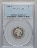 Barber Dimes: , 1904-S 10C AU50 PCGS. PCGS Population (10/87). NGC Census: (2/61).Mintage: 800,000. Numismedia Wsl. Price for problem free...