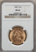 Liberty Eagles: , 1882 $10 MS62 NGC. NGC Census: (3841/799). PCGS Population(1968/378). Mintage: 2,324,480. Numismedia Wsl. Price for proble...