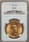 Saint-Gaudens Double Eagles: , 1926 $20 MS64 NGC. NGC Census: (9004/3741). PCGS Population(7164/4659). Mintage: 816,750. Numismedia Wsl. Price for proble...