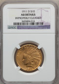 Indian Eagles, 1911-D $10 -- Improperly Cleaned -- NGC Details. AU. NGC Census:(56/669). PCGS Population (66/432). Mintage: 30,100. Numis...
