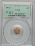California Fractional Gold: , 1853 50C Liberty Octagonal 50 Cents, BG-304, Low R.5, AU58 PCGS.PCGS Population (7/32). NGC Census: (5/6). ...