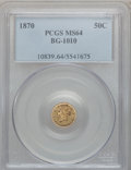 California Fractional Gold: , 1870 50C Liberty Round 50 Cents, BG-1010, R.3, MS64 PCGS. PCGSPopulation (40/19). NGC Census: (9/6). ...