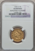 Liberty Half Eagles: , 1840-O $5 Narrow Mill -- Improperly Cleaned -- NGC Details. AU. NGCCensus: (16/84). PCGS Population (13/30). Mintage: 40,1...