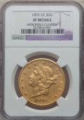 Liberty Double Eagles: , 1892-CC $20 -- Improperly Cleaned -- NGC Details. XF. NGC Census:(32/697). PCGS Population (53/494). Mintage: 27,265. Numi...