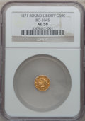 California Fractional Gold: , 1871 50C Liberty Round 50 Cents, BG-1045, R.5, AU58 NGC. NGCCensus: (2/3). PCGS Population (8/33). ...