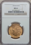 Indian Eagles: , 1914-D $10 MS61 NGC. NGC Census: (720/1101). PCGS Population(285/1283). Mintage: 343,500. Numismedia Wsl. Price for proble...