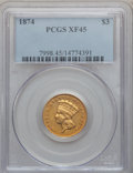 Three Dollar Gold Pieces: , 1874 $3 XF45 PCGS. PCGS Population (143/1888). NGC Census:(89/2411). Mintage: 41,800. Numismedia Wsl. Price for problem fr...
