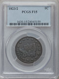 Large Cents: , 1823/2 1C Fine 15 PCGS. PCGS Population (9/52). NGC Census: (4/32).Mintage: 1,262,000. Numismedia Wsl. Price for problem f...