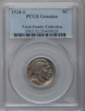 Buffalo Nickels: , 1928-S 5C -- Cleaning -- PCGS Genuine. EX: Teich Family Collection.Mintage: 6,936,000. (#3965.92)...
