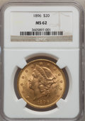 Liberty Double Eagles: , 1896 $20 MS62 NGC. NGC Census: (4094/1598). PCGS Population(2587/1001). Mintage: 792,500. Numismedia Wsl. Price for proble...