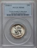 Washington Quarters: , 1948-S 25C MS66 PCGS. EX: Teich Family Collection. PCGS Population(791/45). NGC Census: (1146/281). Mintage: 15,960,000. N...