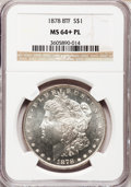 Morgan Dollars: , 1878 8TF $1 MS64+ Prooflike NGC. NGC Census: (146/11). PCGSPopulation (119/11). Numismedia Wsl. Price for problem free NG...