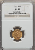 Liberty Quarter Eagles: , 1879 $2 1/2 MS61 NGC. NGC Census: (209/386). PCGS Population(62/315). Mintage: 88,990. Numismedia Wsl. Price for problem f...
