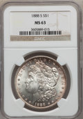 Morgan Dollars: , 1888-S $1 MS63 NGC. NGC Census: (927/987). PCGS Population (2038/1675). Mintage: 657,000. Numismedia Wsl. Price for problem...