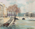 Fine Art - Painting, European:Other , JULES RENÉ HERVÉ (French, 1887-1981). Near the River Seine.Oil on canvas. 9 x 10-3/4 inches (22.9 x 27.3 cm). Signed lo...