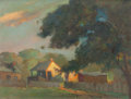 Fine Art - Painting, American:Contemporary   (1950 to present)  , PAUL FREDERICK BERDANIER (American, 1879-1961). Sunlit Farm withTree, 1957. Oil on panel. 12 x 16 inches (30.5 x 40.6 c...