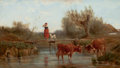 Fine Art - Painting, European, LUDWIG SELLMAYR (German, 1834-1901). Crossing the Stream.Oil on wood panel. 6 x 10-1/2 inches (15.2 x 26.7 cm). Signed ...