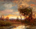 Fine Art - Painting, American, CHARLES P. APPEL (American, 1857-1928). Sunset Landscape.Oil on canvas laid on board. 16 x 20 inches (40.6 x 50.8 cm). ...