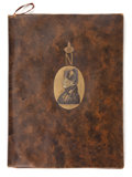 Decorative Arts, French:Other , FRENCH EMPIRE STYLE LEATHER AND GILT METAL BLOTTER BOOK . Circa1900. 14 x 10-1/2 inches (35.6 x 26.7 cm). FROM THE EDMUND...