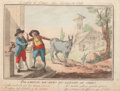 "Prints:Old Master, ITALIAN SCHOOL (18th Century) . A Pair of Italian Proverbs: TheBraying of Donkeys doesn't reach Heaven"" [Raglio d'Asino. ...(Total: 2 Items)"