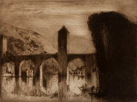 SIR FRANK BRANGWYN (British, 1867-1956) Bridge at Cohors Etching with drypoint Image: 7 x 9-1/4 inches (17.8 x 23.5 c