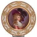 Paintings, A DRESDEN PAINTED PORCELAIN PORTRAIT PLATE: MARIE ANTOINETTE . Circa 1880. Marks: (shield with scroll) Dresden. ...
