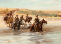American, F. HUNNUN WATSON (Canadian, 19th Century). Cavalry Fording aRiver, 1901-02. Oil on canvas . 22 x 30 inches (55.9 x 76.2...
