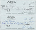 Music Memorabilia:Autographs and Signed Items, Johnny Cash Show Signed Checks Lot of 2.... (Total: 2 Items)