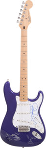 Musical Instruments:Electric Guitars, Crosby, Stills, Nash and Young Signed Purple Stratocaster...