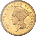 Three Dollar Gold Pieces, 1863 $3 MS66+ PCGS. CAC....