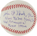 Autographs:Baseballs, John Forbes Nash (A Beautiful Mind) Single Signed Baseball WithInscription....