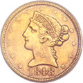 Liberty Half Eagles, 1848-D $5 XF40 PCGS. CAC Gold Label. Variety 21-N....