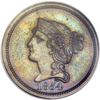 1854 P1C One Cent, Judd-161 Original, Pollock-187, R.4, PR63 Brown PCGS. CAC Gold Label....(PCGS# 11663)