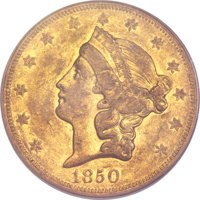 1850-O $20 VF35 PCGS. CAC Gold Label. Variety 2....(PCGS# 8903)
