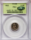Proof Seated Half Dimes, 1862 H10C PR61 PCGS. Gold CAC. PCGS Population (8/159). NGC Census:(1/147). Mintage: 550. Numismedia Wsl. Price for proble...