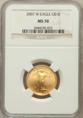 Modern Bullion Coins, 2007-W $10 Quarter-Ounce Gold Eagle MS70 NGC. NGC Census: (2551).PCGS Population (563). Numismedia Wsl. Price for problem...